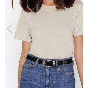 """I West My Case"" NastyGal suede belt"